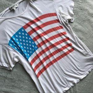 Wildfox American Flag Patriotic T-Shirt White